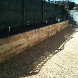 Alun Gredrych - Oak Sleeper Retaining Wall & Shingle Footpath