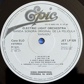 Xanadu Promo LP Label ELO - Spain