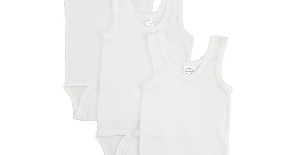 Rib Knit White Sleeveless Tank Top Onezie 3-Pack