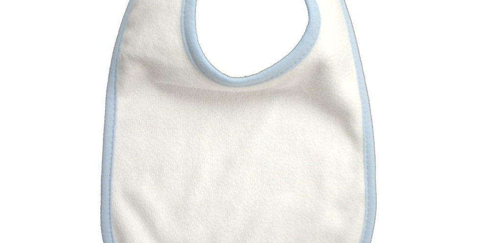 2-Ply Terry Bib White with Blue Trim