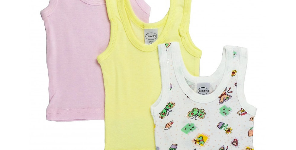 Girl's Rib Knit Print Sleeveless Tank Top Shirt 3-Pack