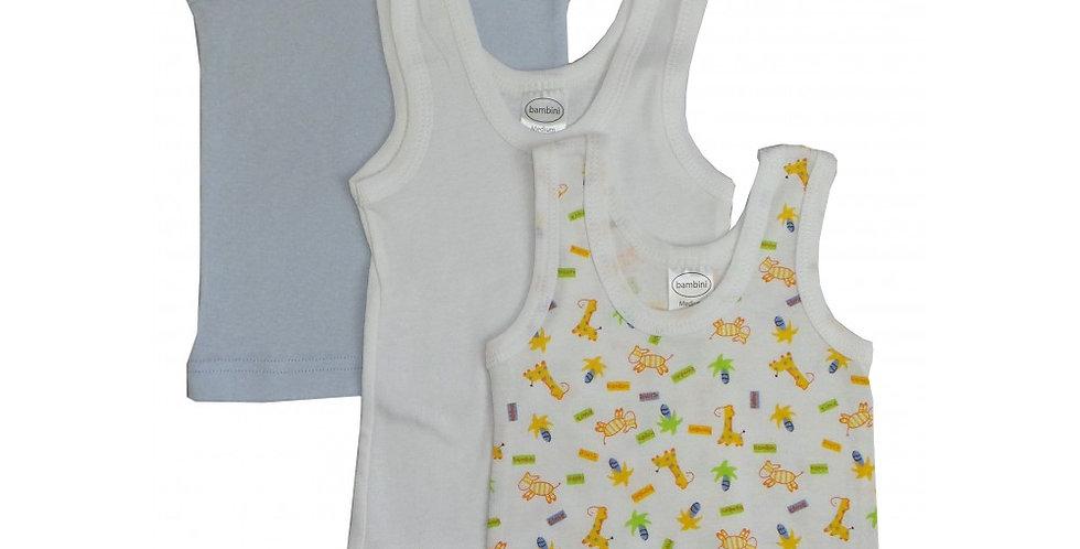 Boy's Rib Knit Print Sleeveless Tank Top Shirt 3-Pack
