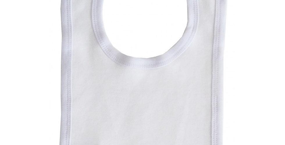 1-Ply Interlock White with White Trim Infant Bib - 1020