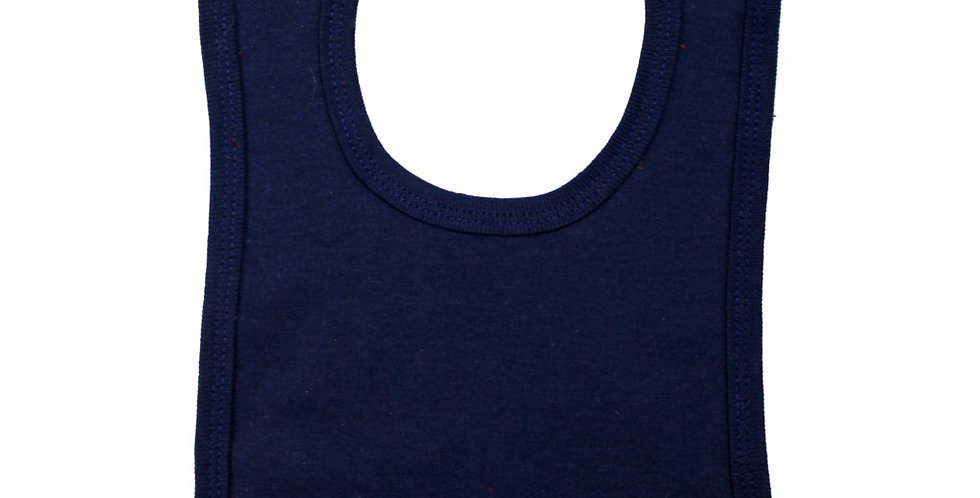 2-Ply Interlock Solid Navy Blue Infant Bib