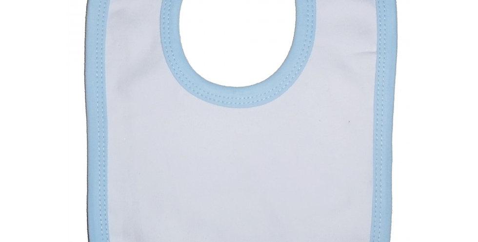 2-Ply Interlock White with Blue Trim Infant Bib