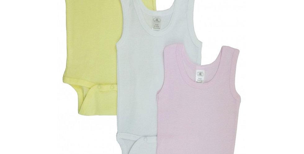 Girl's Rib Knit Pastel Sleeveless Tank Top Onezie 3-Pack
