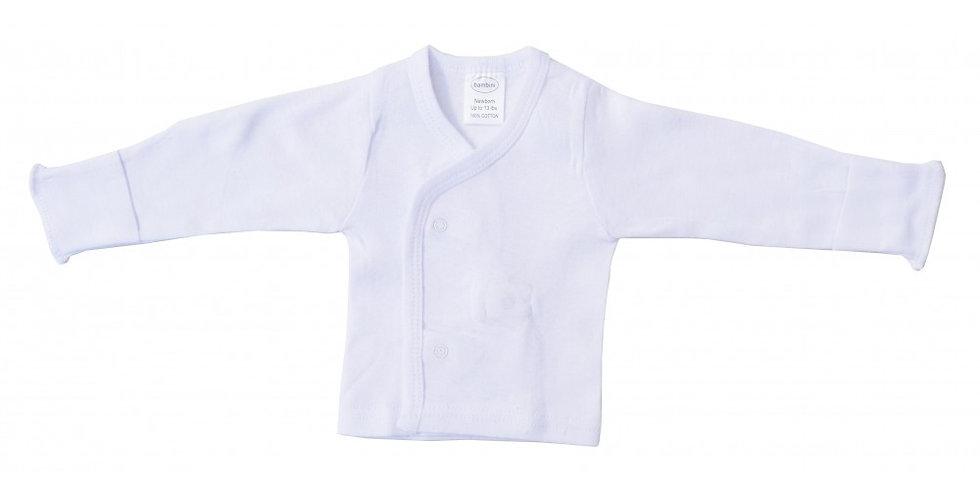 Newborn/Infant Rib Knit White Long Sleeve Side-Snap Shirt 3-Pack