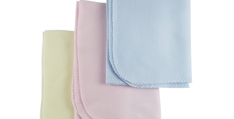 Newborn/Infants throw or crib Fleece Blanket Assorted Pastels
