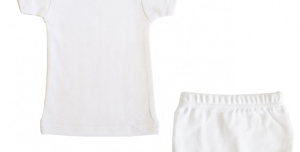 Interlock White Short Sleeve Lap T-Shirt & Underwear Set