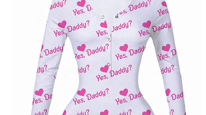 Yes Daddy Onesie Pajamas for Women Adults Sexy Onsie Bodysuit Stretch Leotard