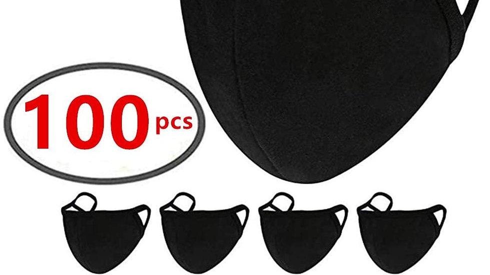 Masque Black Cotton Face Shields Faces-Mouth Face Covers