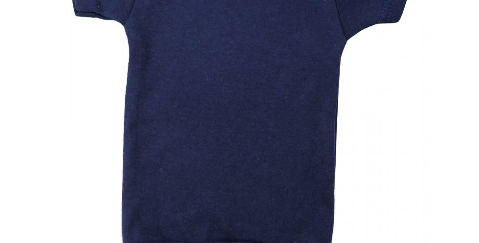 Navy Interlock Short Sleeve Onezie