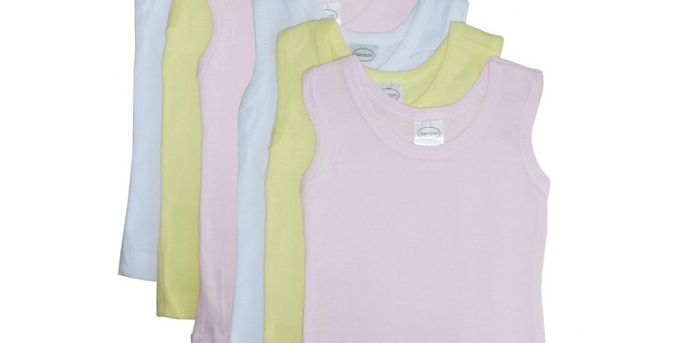 Bambini Girl's Rib Knit Pastel Sleeveless Tank Top Shirt 6-Pack