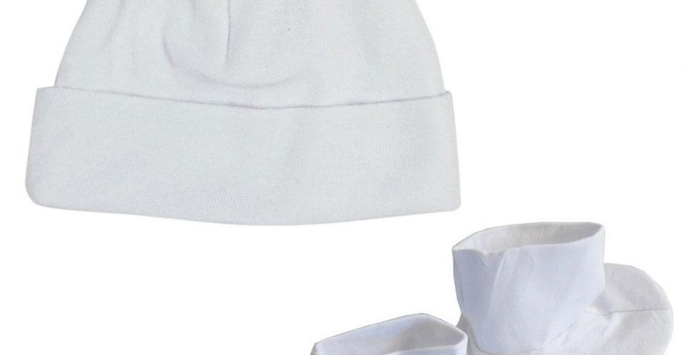 White Rib Knit Infant Cap & Booties Set