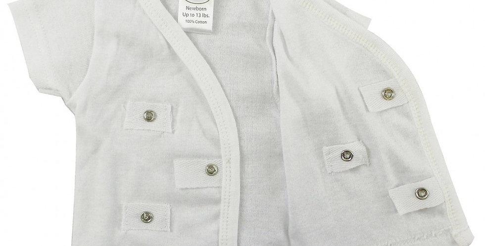 Infant/Newborn Rib Knit White Short Sleeve Side-Snap Shirt, 3-Pack