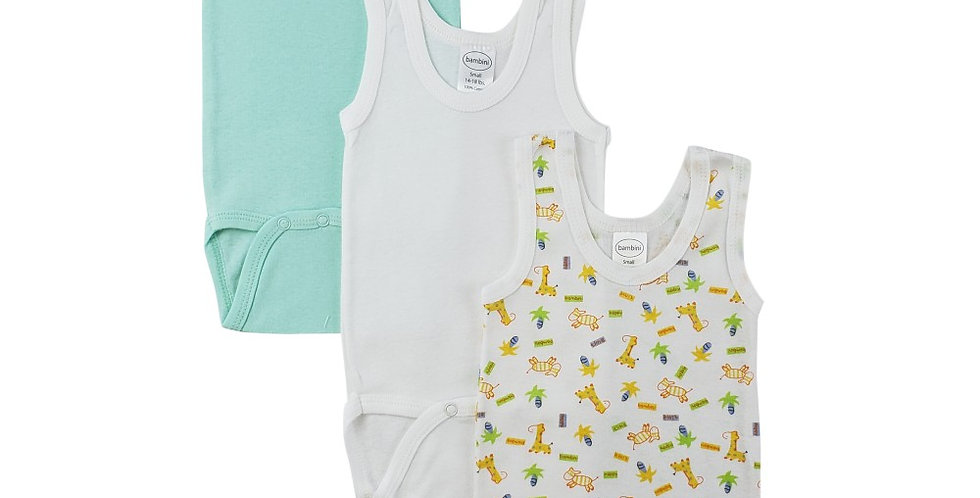Boy's Rib Knit Variety Sleeveless Tank Top Onezie 3-Pack