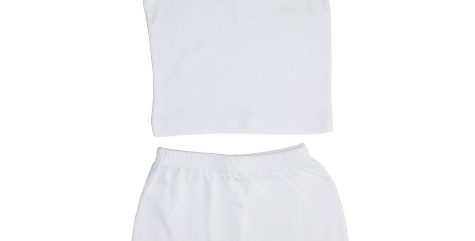 White Interlock Short Sleeve Lap T-Shirt & Shorts Set