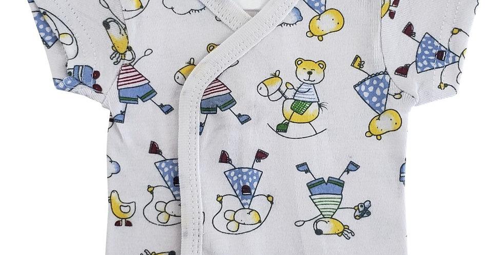 Infant/Newborn Print Short Sleeve Side-Snap Shirt