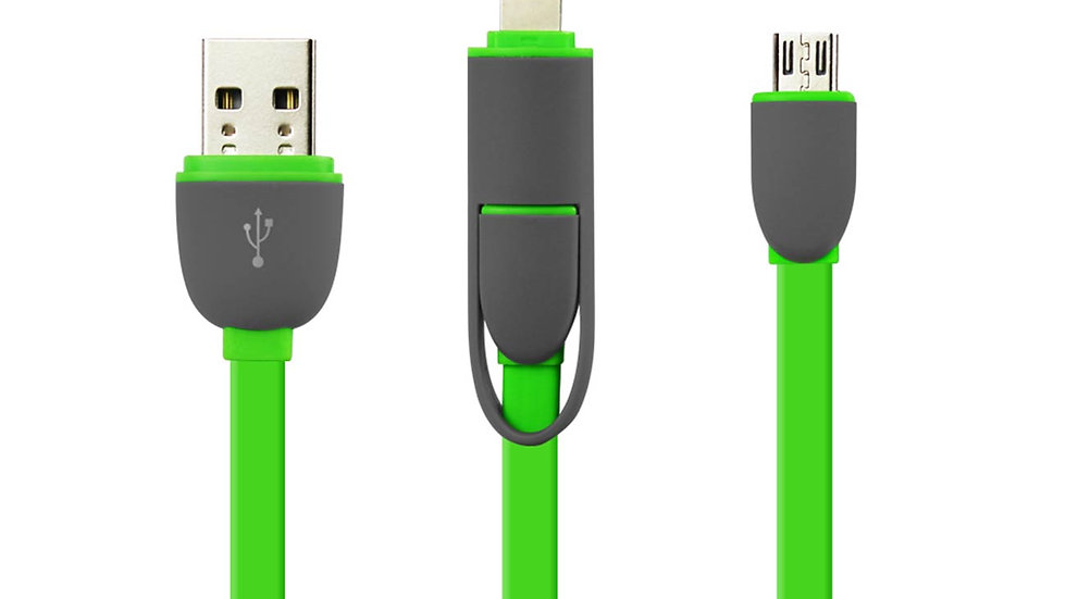 REIKO IPHONE 6 AND MICRO USB FLAT CABLE 3.2FT 2-IN-1 USB DATA IN GREEN