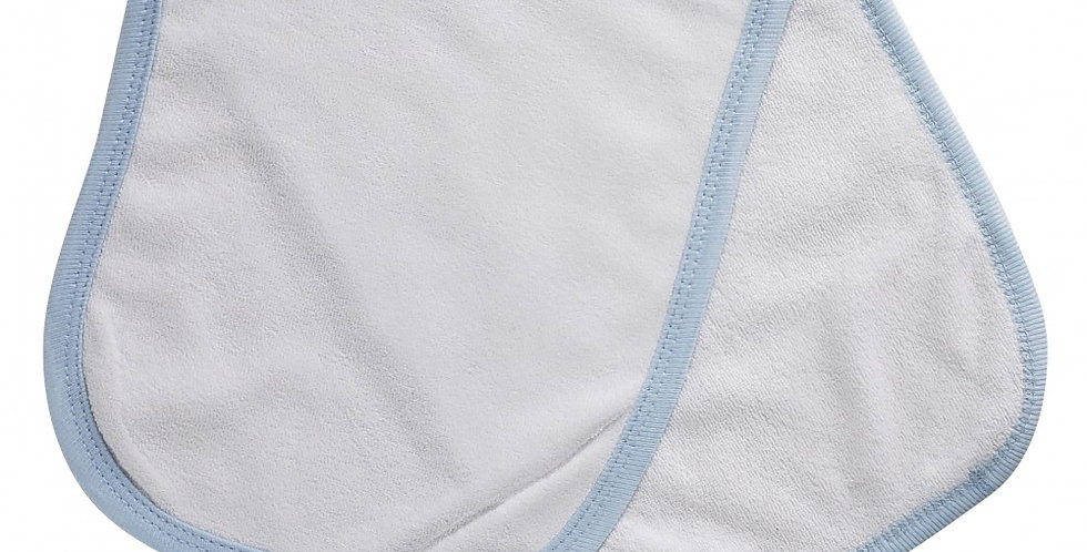 2-Ply Terry Burp Cloth White with Blue Trim