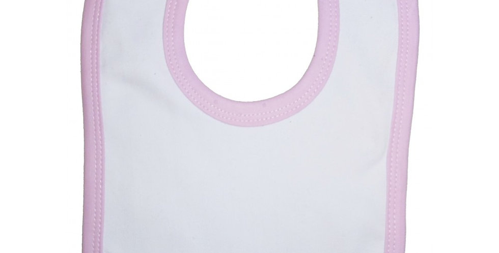 2-Ply Interlock White with Pink Trim Infant Bib