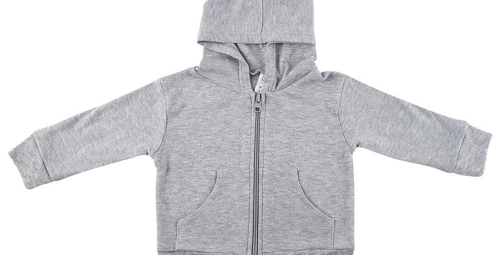 Heather Grey Interlock Hooded Sweat Shirt
