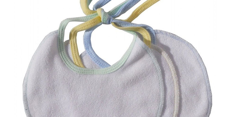 2-Ply Terry White with Pastel Trim Infant Drool Bibs