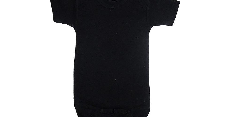 Black Interlock Short Sleeve Onezie