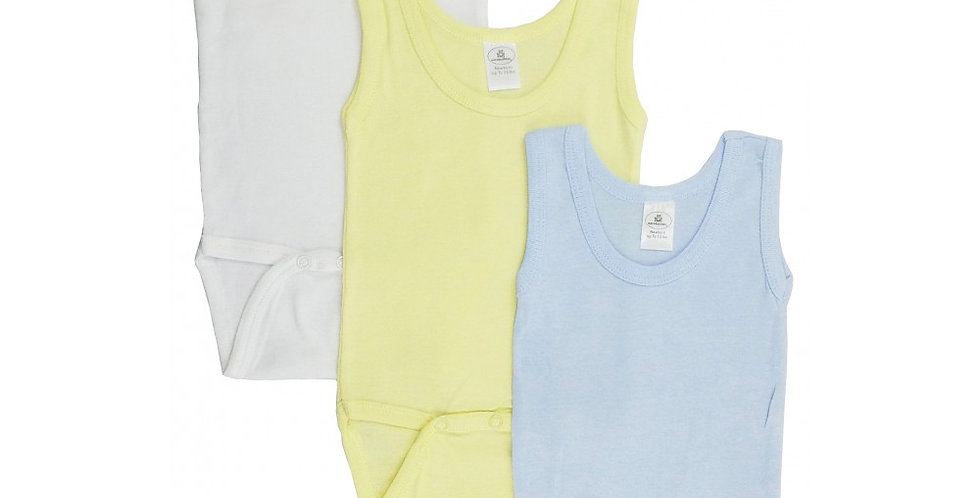 Boy's Rib Knit Pastel Sleeveless Tank Top Onezie 3-Pack