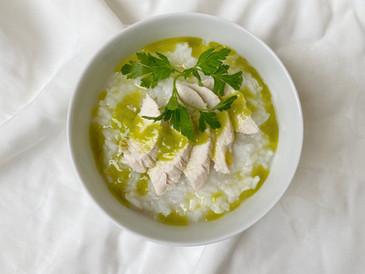 山葵粥 蒸し鶏と塩山葵オリーブソース