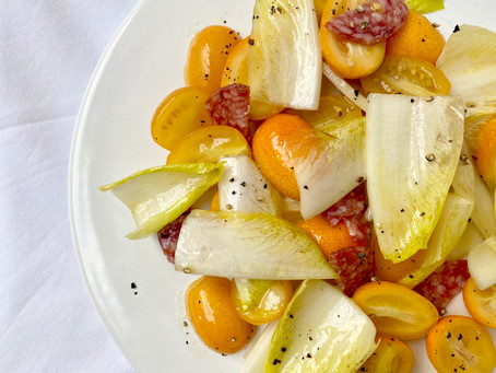 金柑とサラミのサラダ
