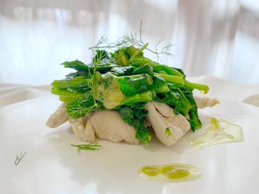 菜の花のマスタード和え 蒸し鶏に美味しいオリーブオイル