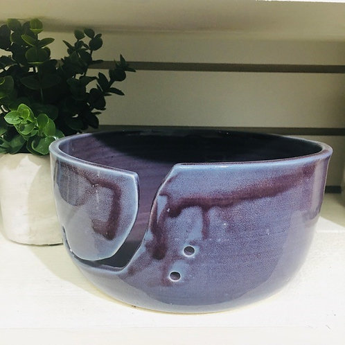 Ceramic Pottery Yarn Bowl Locally Handmade (purple)