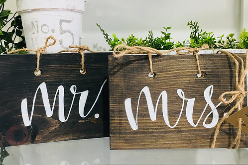 Mr. and Mrs. Wooden Hand Painted Signs Set