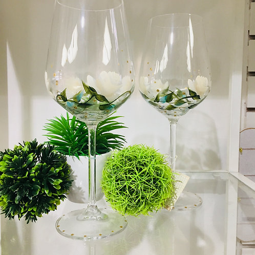 Set of 2 Hand Painted Crystal Wine Glasses