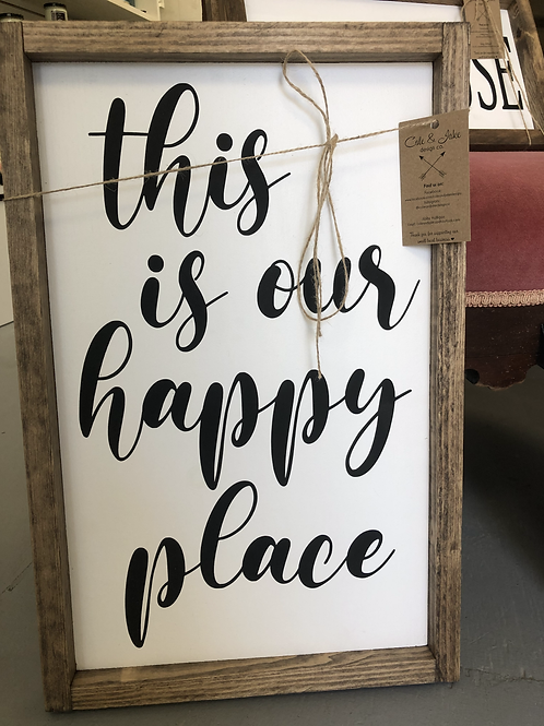 """This is our happy place"" Handmade Wooden Sign"