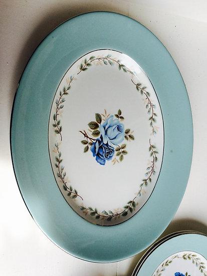vintage teal plates (set)