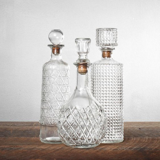 vintage glass decanters (assorted)