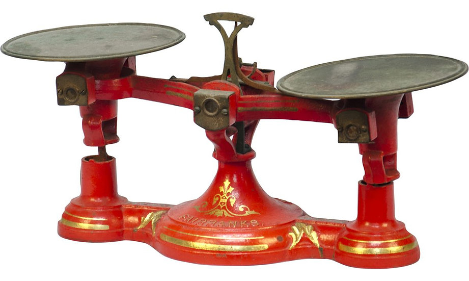 antique red iron scale