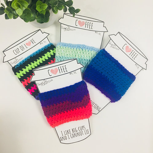 Striped Crocheted Cup Cozies