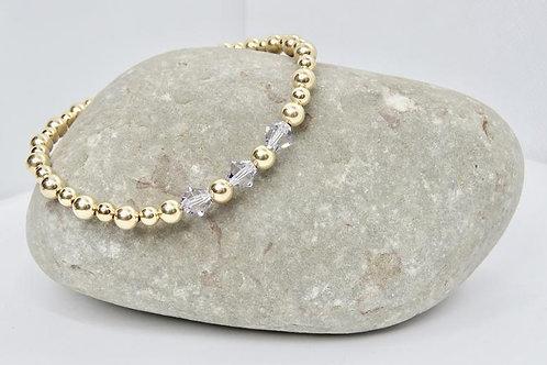 14K Gold Filled & Swarovski Crystal Beaded Bracelet. Stacking Bracelets. Layerin