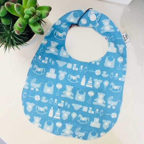 Boozoo Baby Bib - Blue/White Pattern- 0-6m