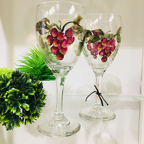 Grape Hand painted on Wine Glasses
