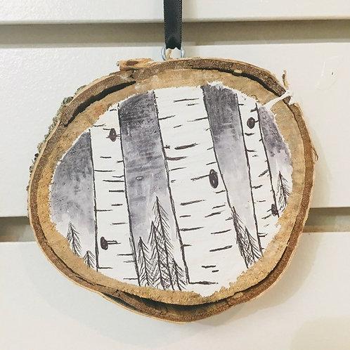 "Hand Painted ""Birch Tree"" on Wood Slice"