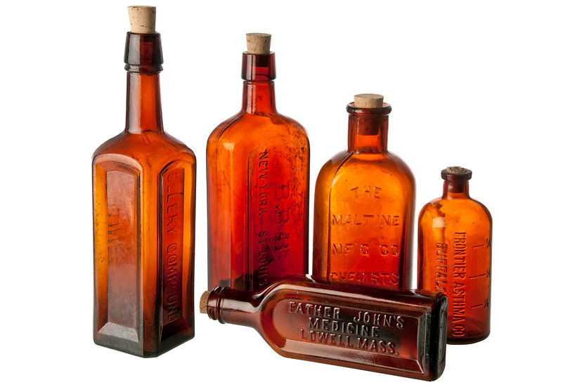 vintage brown apothocary bottles