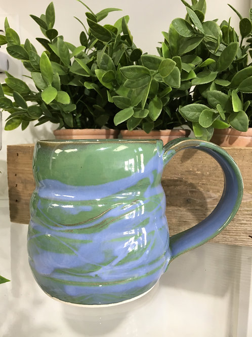 Ceramic Pottery Mug Locally Handmade-Green/Blue
