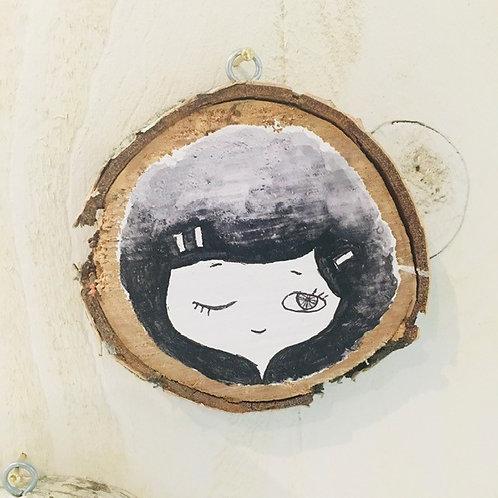 "Hand Painted ""Girl"" on Wood Slice"
