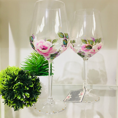 2 Pink Rose Hand Painted Crystal Wine Glass Set