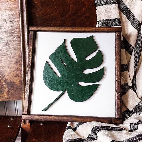 Monstera Leaf 3D Wooden Barnwood Sign