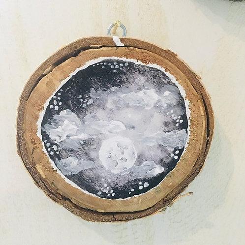 """Hand Painted """"Full Moon"""" on Wood Slice"""